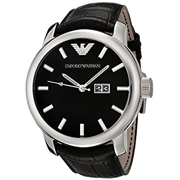 1c449886210 Image Unavailable. Image not available for. Color  Emporio Armani Ar0428  Classic Black Dial Men s Watch