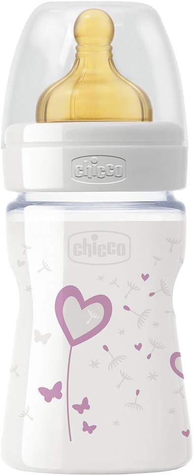 Chicco Wellbeing - Biberón de vidrio/cristal con tetina látex anti ...