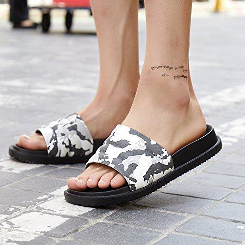 estate pantofole uomini bianco Pantofole morbido antiscivolo usura camuffamento donne coppie fankou e pantofole indoor fondo nero in usura 42 cool casa qp6tFnB