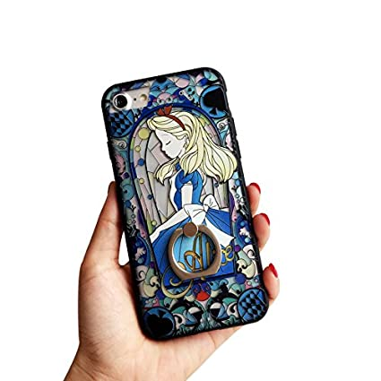 for iPhone 7 Plus & iPhone 8 Plus Protective Skins,Princess Alice in Wonderland Soft Frame/Hard Back Embossed Craft/Ultra-Light Protective Shell Case