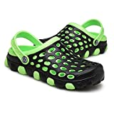 Cyiecw Unisex Breathable Garden Clogs Outdoor Walking Slippers Anti-Slip Beach Shower Sandals (8.5 US Women/6.5 US Men, Green)