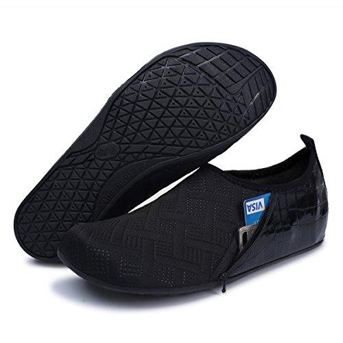 JIASUQI Mens and Womens Summer Barefoot Water Skin Shoes for Surf Pool Zip Black US 5.5-6.5 Women, 5-5.5 Men by JIASUQI (Image #2)