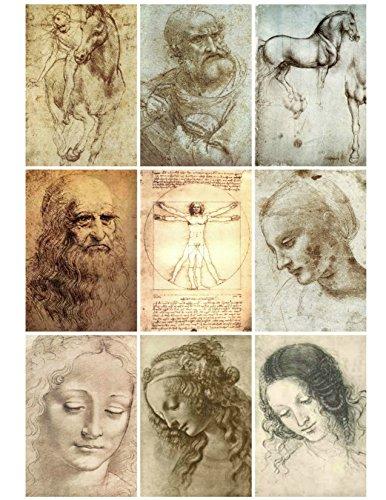 Collage Sheet Printable Vintage Leonardo Da Vinci Art Sketches Instant Digital Download, for Decoupage Altered Art, Scrapbook Embellishments ()