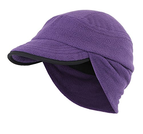 Home Prefer Winter Warm Skull Cap Outdoor Windproof Fleece Earflap Hat with Visor (Light Purple) ()