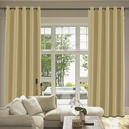 Sahara Curtain Cotton - cololeaf Sahara Sun Cotton Curtains Grommet, Room Darkening Noise Reducing Window Treatment Panel for Living Room Bedroom Kidroom Studio Patio Door, 84