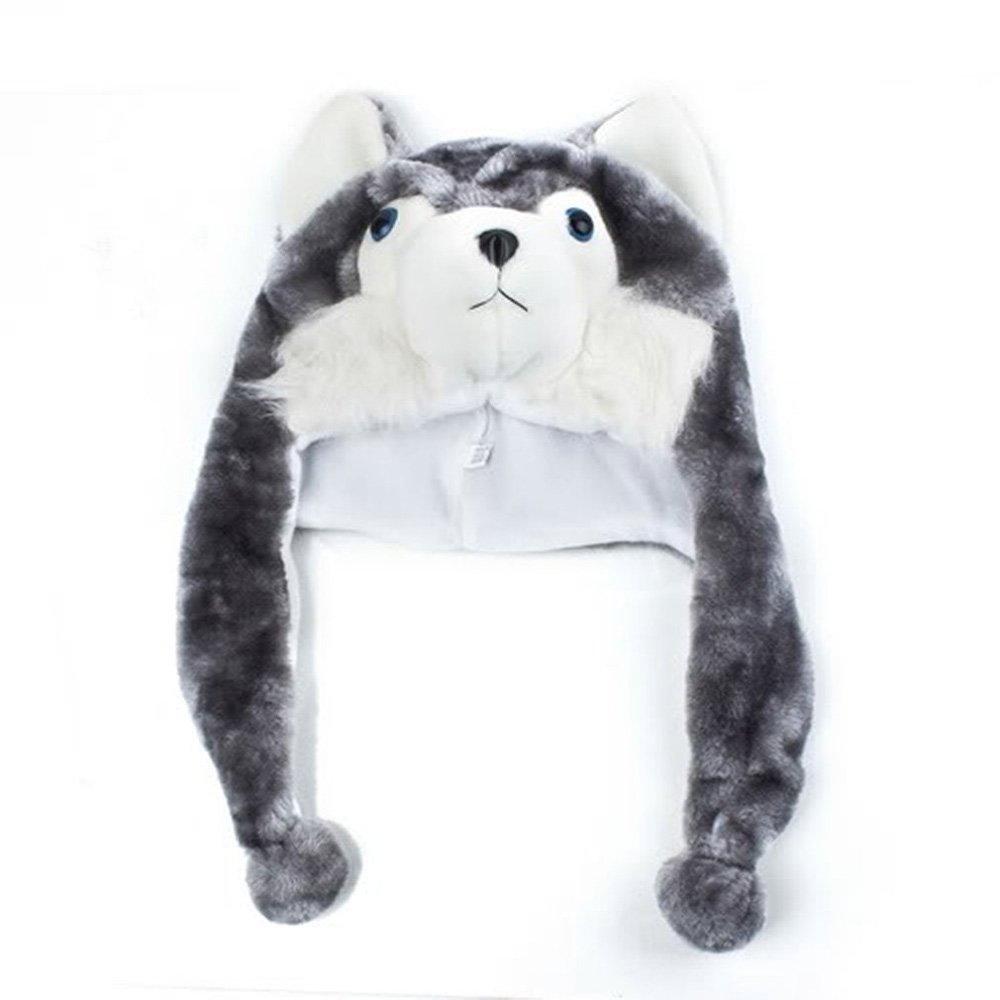 338949d6472 Amazon.com   PJ s Toybox Retail Husky Hat Animal Cartoon Wolf Cap Gift gray  Earflap with Pom Poms BLUE EYES   Baby