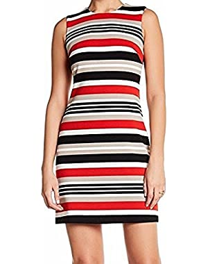 Calvin Klein Black Women's Sheath Seamed Striped Dress Red 4