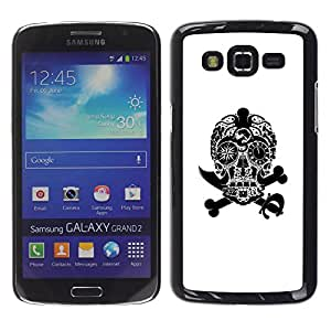 Shell-Star Arte & diseño plástico duro Fundas Cover Cubre Hard Case Cover para Samsung Galaxy Grand 2 II / SM-G7102 / SM-G7105 ( Black White Skull Pirate Jewel Death )