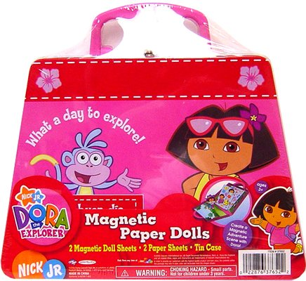 Jakks Pacific Flying Colors Dora Clutch N Go Magnetic Paper Dolls - Doll Up Dress Dora