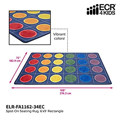 ECR4Kids Spot On Seating Area Rug for Children, Kids' Educational Carpet for School/Classroom/Home, Assorted Colors