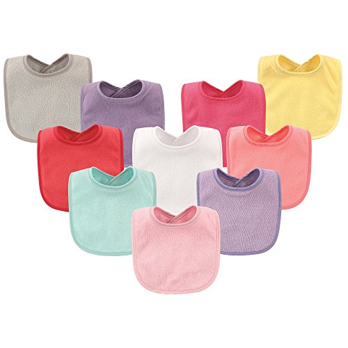 Hudson Baby Baby Drooler Bibs with Waterproof Lining, 10 Pack, Girl Solids, One Size