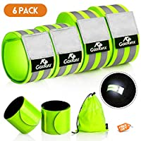GoxRunx Reflective Bands Running Gear 6 Pack-Adjustable Reflective Armband Arm Wrist Ankle Leg Bands Reflectors -Reflective Tape Straps for Clothing Night Running Cycling Walking -Slap Bracelets