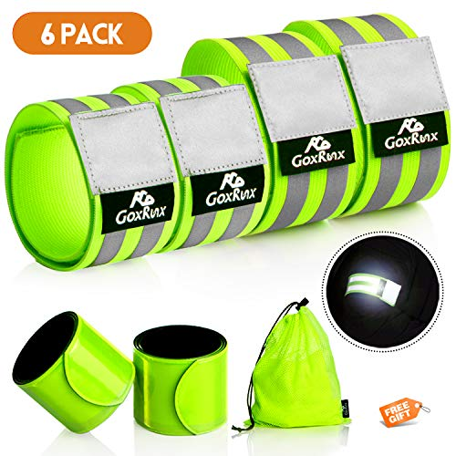 GoxRunx Reflective Bands Running Gear 6 Pack-Adjustable Reflective Armband Arm Wrist Ankle Leg Bands Reflectors -Reflective Tape Straps for Clothing Night Running Cycling Walking -Slap Bracelets (Slap Strap Reflective)