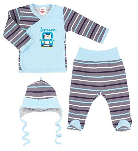 MAKOMA Baby Jungen 3tlg. Set aus Wickelshirt Babyhose und Babymütze -126 Brum- (62)