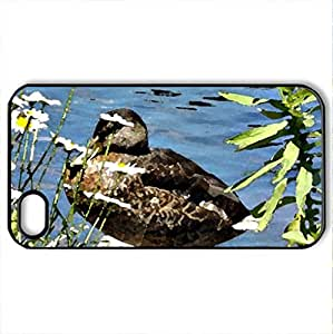 among the weeds - Case Cover for iPhone 4 and 4s (Ducks Series, Watercolor style, Black)