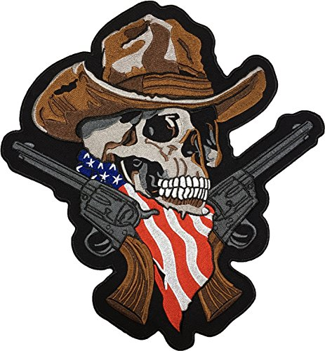 [Large Size] Papapatch Cowboy Skull Brown Hat Two Revolver Guns USA US America Flag Scarf Bandana Biker Motorcycle Jacket Vest Costume Embroidered Sew on Iron on Patch (IRON-COWBOY-USA-LARGE)