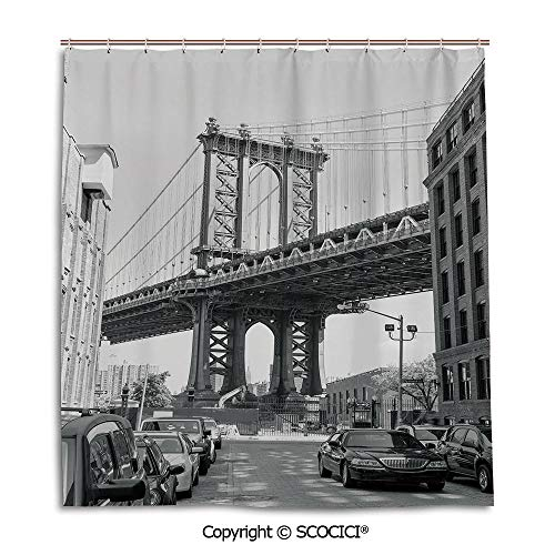 (SCOCICI Creative Bath Curtain Personality Suit Shade Curtain,66X72in,Landscape,Brooklyn New York USA Landmark Bridge Street with Cars Photo,Black White and Charcoal Grey,Used for Bathing Privacy)