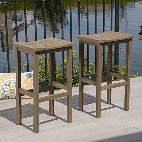 Outdoor Wood Finish Bar Stool - Great Deal Furniture Cassie Outdoor 30 Inch Grey Finish Acacia Wood Barstools (Set of 2)