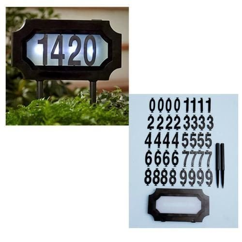 Arch Marker Wall (Solar Lighted Address Sign Stake Plaque House Number Marker LED Dusk to Dawn)