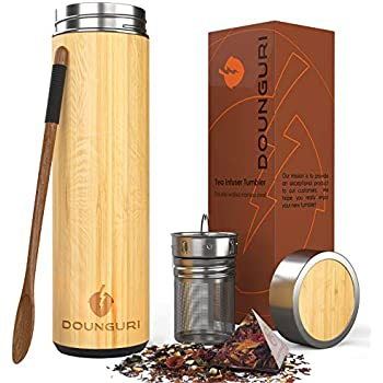 Amazon.com: DOUNGURI Bamboo Tea Tumbler Mug with Strainer Infuser - 14 oz. Vacuum Insulated Stainless Steel Thermos with Filter for Loose Leaf / Coffee Travel Bottle / Hot and Cold Water / Leak Proof / Gift Ready: Kitchen & Dining