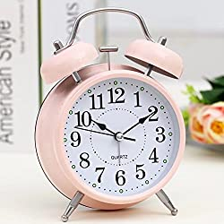 4 Classic Bell Desktop Alarm Clock Metal With Backlight Table Clock Silent Quartz Home Desk Table Alarm Clock,Pink