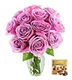 #9: KaBloom Valentine's Day Special: Bouquet of 12 Fresh Cut Purple Roses (Long Stemmed) with Vase and One Box of Lindt Chocolates