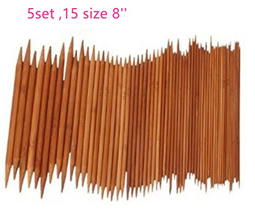 Yy Star 5 Sets Of 15 Sizes 8  20Cm  Double Pointed Carbonized Bamboo Knitting Kits Needles Set  2 0Mm   10 0Mm