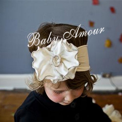 White Flower Baby Newborn Headband Hair Band