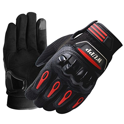 Yeefant 1 Pair 2 Neoprene Embossed Design Riding Bike Racing Motorcycle Protective Armor Short Back Leather Summer Warship Full Finger Gloves Mesh Black, L