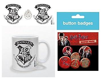 Set Harry Potter Escudo De Hogwarts Blanco Y Negro Taza Foto 9x8