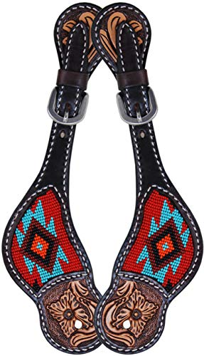 (Oxbow Tack Santa Fe Beaded Leather Tack Set Matching Headstall Breast Collar Spur Straps Tie Down Noseband (Santa Fe Spur Staps) )