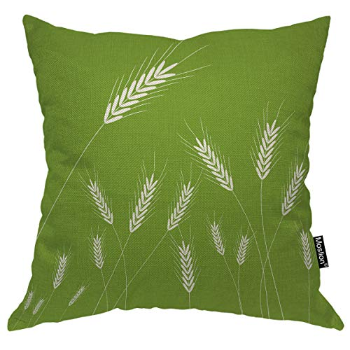 Moslion Wheat Decorative Pillow Case Spring Grass Farm Plant Wheat Ears Ripen Rice Gone with The Wind Throw Pillow Cover Square Accent Cotton Linen Home 18x18 Inch Green