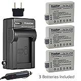 Kastar Battery (3-Pack) and Charger Kit for LP-E5, LC-E5E work with Canon EOS 450D, 500D, 1000D, Kiss F, Kiss X2, Kiss X3, Rebel XS, Rebel XSi, Rebel T1i Digital Cameras