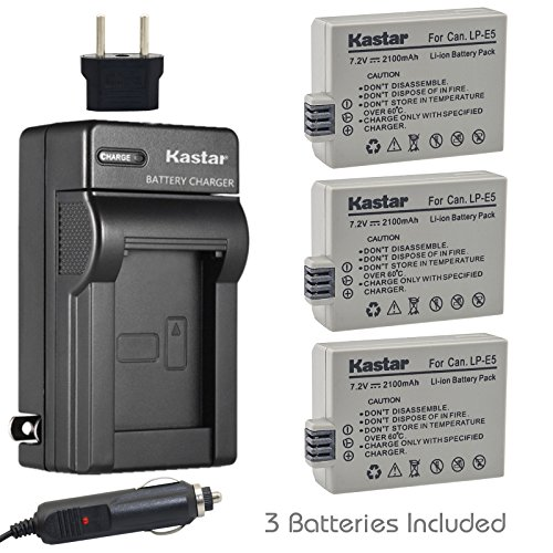 Kastar LP-E5 Battery (3-Pack) and Charger Kit for LPE5, LC-E5E and Canon EOS 450D, 500D, 1000D, Kiss F, Kiss X2, Kiss X3, Rebel XS, Rebel XSi, Rebel T1i Digital Cameras