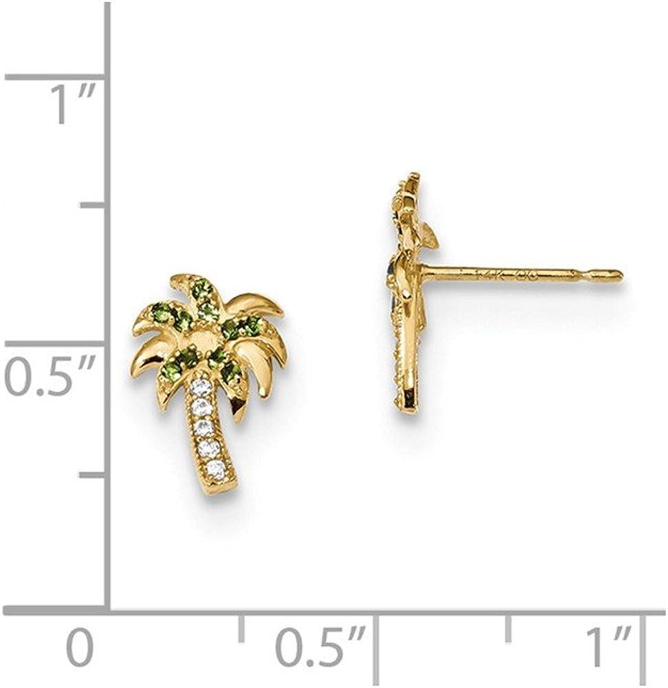 Mia Diamonds 14k Yellow Gold Madi K Green and Clear CZ Palm Tree Post Earrings