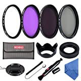 Beschoi 52mm UV CPL FLD ND4 Neutral Density Lens Filter Photography Lens Accessories Kit for Canon Nikon and Other Camera Lens with 52mm Filter Thread + Lens Cap + Lens Hood + Filter Pouch