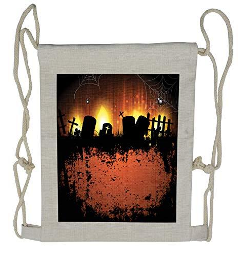 Lunarable Halloween Drawstring Backpack, Tombstone Silhouettes Web, Sackpack Bag -