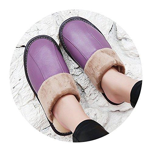 TELLW hombres y mujeres Zapatillas de invierno calientes Zapatillas de algod¨®n de peluche zapatillas interiores de invierno peludos suaves Frauen lila