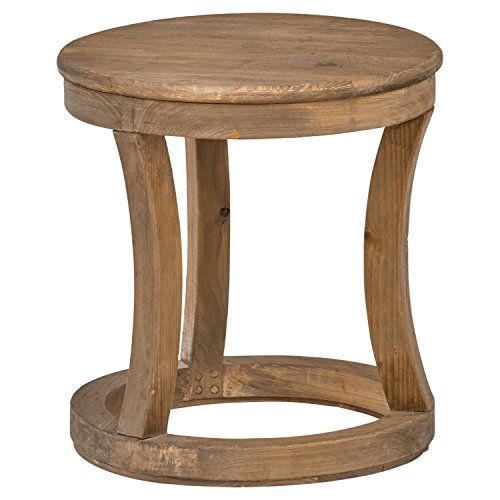 "Stone & Beam Modern Rustic Reclaimed Elm Round Accent Side End Table, 16.9""W, Natural"