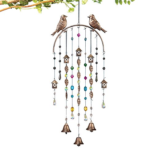 Antique Birds Bells Windchime Brown product image