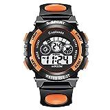 Kids Sport Digital Watch,Outdoor 30M Waterproof Watch with Alarm Stopwatch Wrist Watches for Girls Boys (Big, Orange)