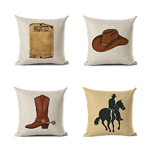 "MENGT Wild West Decorative Pillowcases Cowboy Throw Pillow Covers Set of 4 18"" x 18"""
