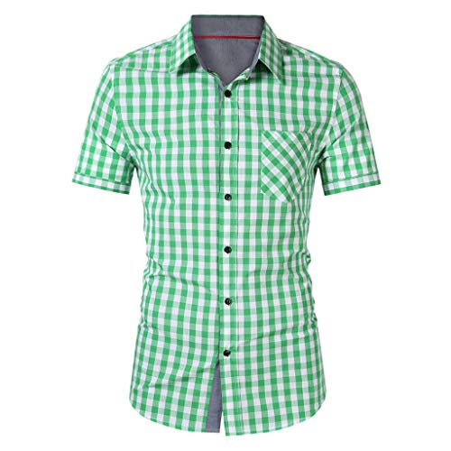 Short Sleeve Jersey Apex - YKARITIANNA Men's Casual Splicing Lapel Plaid Print Pocket Short Sleeve Shirts Tops 2019 Summer Green