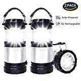 Solar LED Lantern (2 PACK), APPHOME 2-In-1 Camping Lanterns Handheld Flashlights, Camping Gear Equipment for Outdoor Hiking, Camping Supplies, Emergencies, Hurricanes, Outages