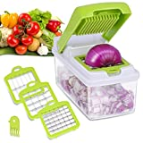 Wehome Vegetable Chopper, Kitchen Veggie Fruit Dicer Slicer, Food Cutter with 3 Interchangeable Blades Set, Food Container and Cleaning Brush for Onion, Potato and More - No-Mess Kitchen Gadgets