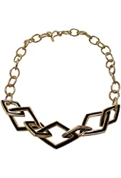 Kenneth Jay Lane Geometric 7 Station Jet and Gold Tone Chain Link Necklace