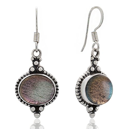 925 Sterling Silver Labradorite Gemstone Indian Inspired Vintage Oval Dangle Hook Earrings 1.5