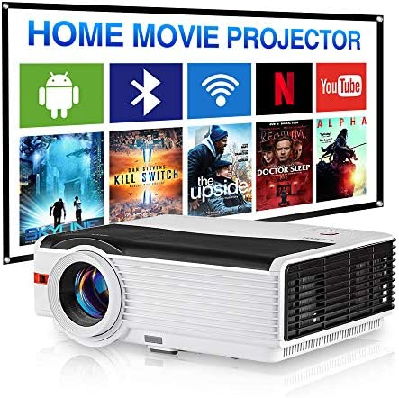 WIKISH Wireless Projector Outdoor Bluetooth Wifi,5000 Lumen Led Projector 200 Inch Display Support Zoom 4D Keystone Correction for Tv Dvd Hdmi Usb