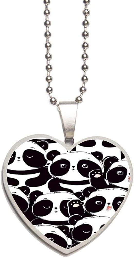 Colored Panda4060 Necklace Personalized Engraved Heart Custom Gift Pendant-Valentines Day Love
