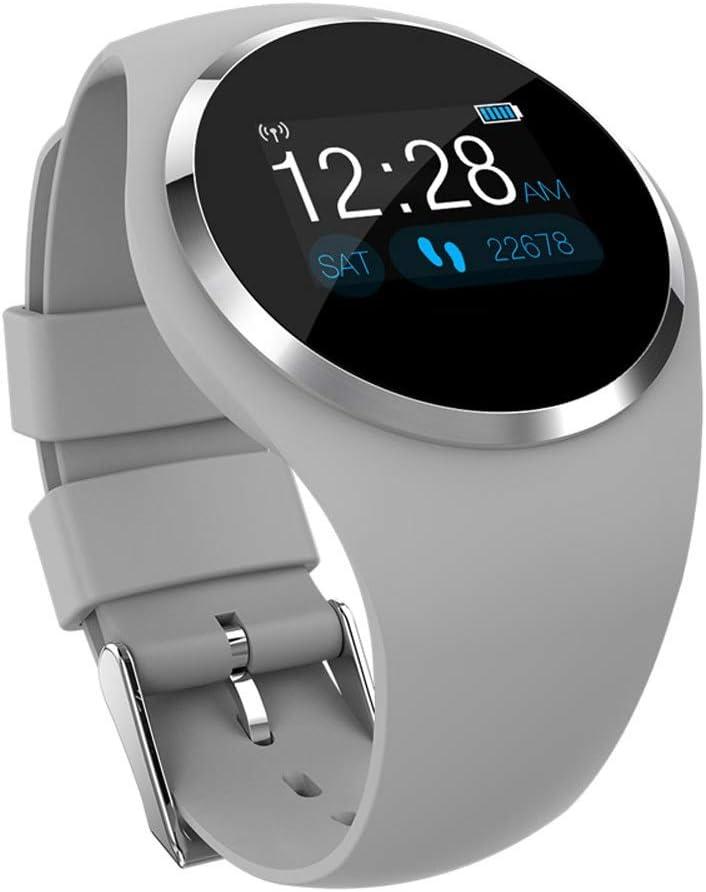 Gimnasio Smart Watch Mujer Corriendo Monitor de ritmo cardíaco Presión arterial Bluetooth Podómetro táctil Inteligente impermeable IP67 Reloj Compatible con Android Plataforma IOS ( color : Gray )